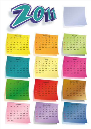 Colorful post-it calendar 2011 Stock Photo