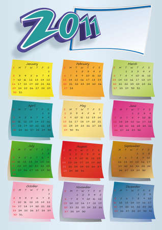 Colorful post-it calendar 2011 on blue