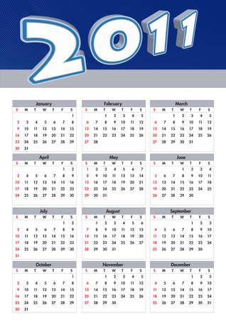 illustration 2011 calendar. modern calendar  Vector