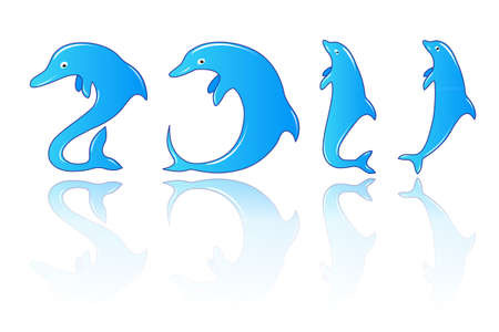 New year with dolphins numbers Illustration