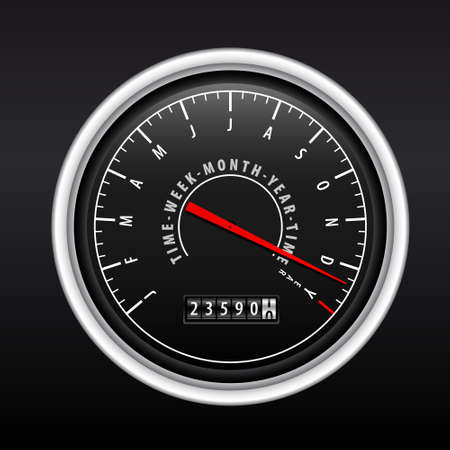 New Year Speedometer on black Stock Vector - 8242484