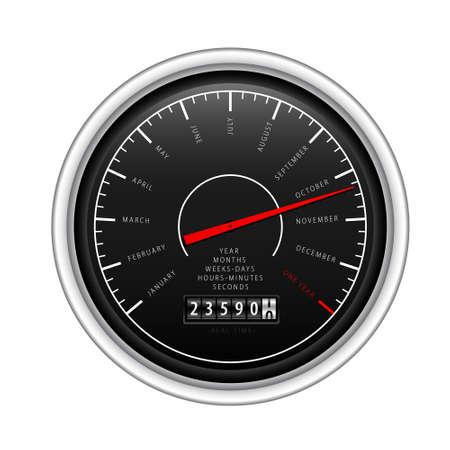 New Year Classic Speedometer on white Stock Vector - 8242483