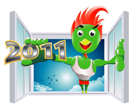 the entry of powerful new year Vector