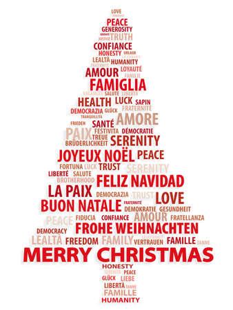 merry christmas text: �rbol de palabras. Tarjeta de Navidad en diferentes idiomas