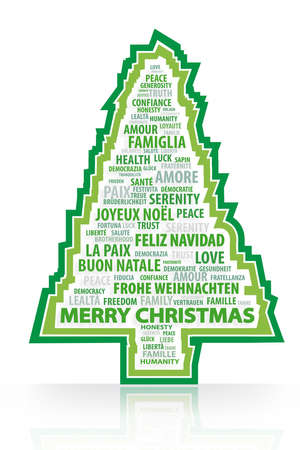 phrases: cristmas tree with multi languages words