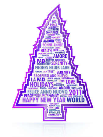 New Year tree composed of words in 5 different languages