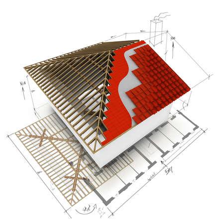 toiture maison: maison de conception 3D de toit