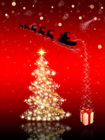 tra�neau: Carte de No�l rouge avec le p�re No�l, arbre de No�l & cadeau