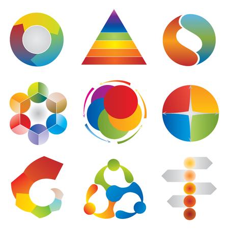 sociedade: Conjunto de carta do diagrama Icons - Roda - Pyramid - Circle - setas Ilustração