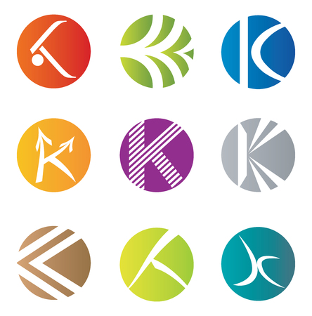 k 9: Set of 9 Abstract K Letter Icons - Decorative Elements