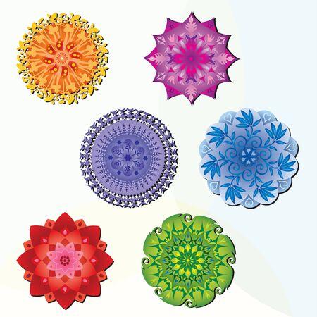 6 マンダラ - 様々 な色のセット