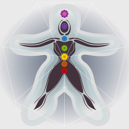 holistic view: Body and Mandalas 7 Chakras, Auras and Heptagone Illustration