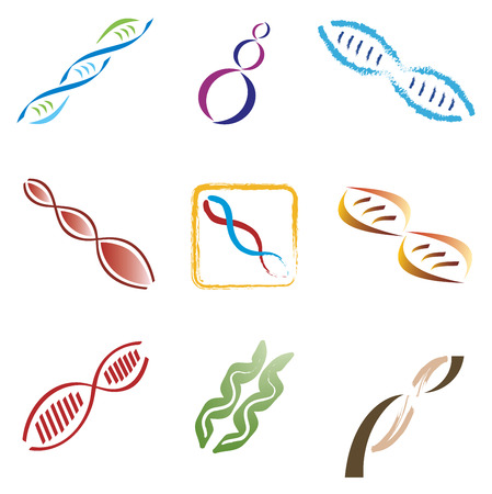 helical: Set of 9 DNA Molecule Icons Illustration