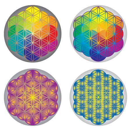 Set Blume des Lebens Symbole - Regenbogen-Farben Vektorgrafik