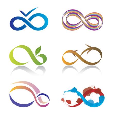 infinito simbolo: Conjunto de iconos del símbolo del infinito Vectores