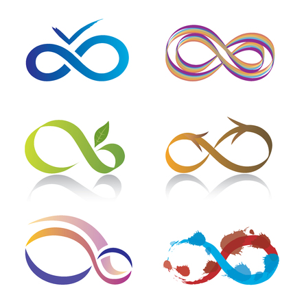 signo infinito: Conjunto de iconos del símbolo del infinito Vectores