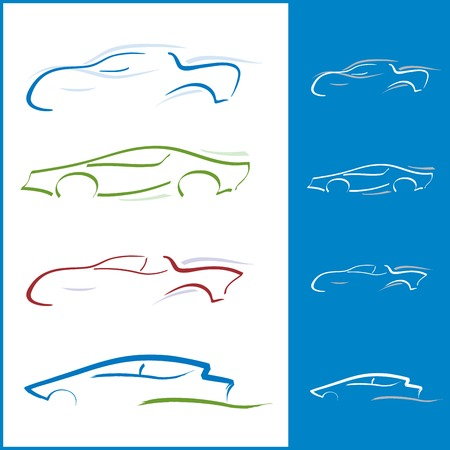 racing sign: Multiple Car Icons for Logo Design