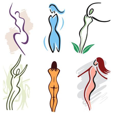 6 여자 바디 아이콘 세트 일러스트