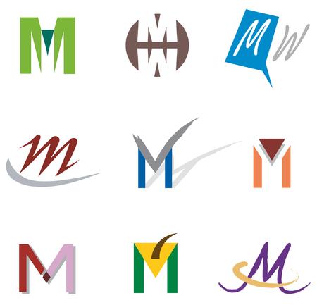 lettre alphabet: Ensemble d'icônes et les éléments du logo Lettre M Illustration