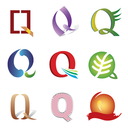 initial: Set of Icons and Logo Elements Letter Q Illustration