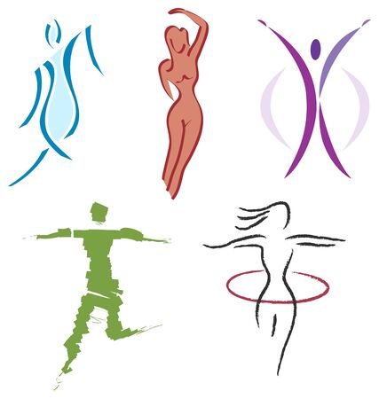 eros: Set of Woman Body Icons - Nature, Sports and Fitness