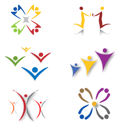 conviviality: Set of Community Social Network Icons - Figures and Silhouettes Illustration