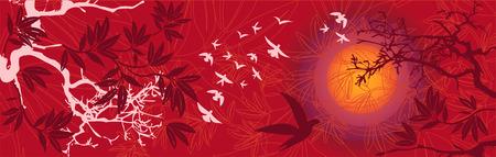 鳥と木東部日没の風景