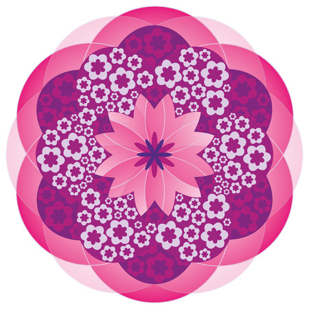 harmony nature: Flower Mandala in Pink Colors Illustration