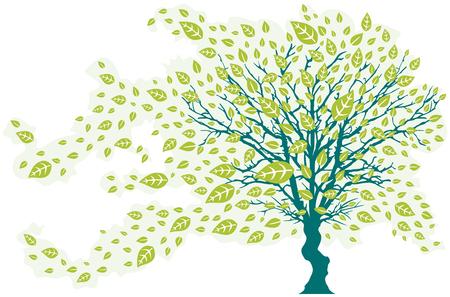 落ち葉 - グリーン色と風の木  イラスト・ベクター素材