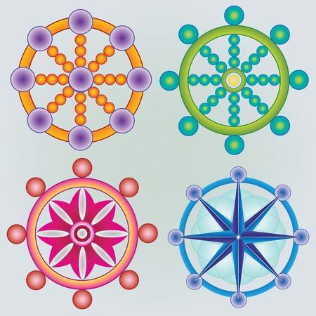 dharma: Set of Wheels Dharma - Buddhism Symbol - Colors Illustration