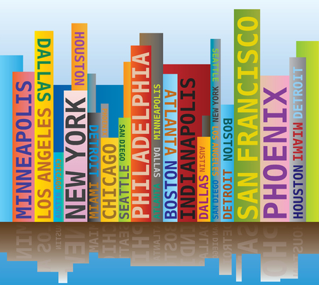 names: Word Cloud - Skyline Shape with Names USA Cities Towns Illustration