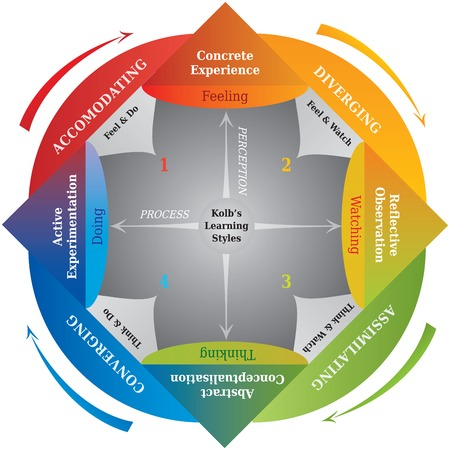Kolb's Learning Styles Diagram - Life Coaching - Education Power Vectores