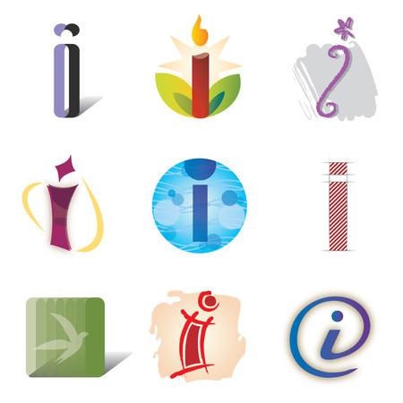 a i: Set of Icons and Logo Elements Letter I Illustration