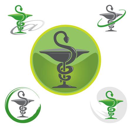 logo medicina: Conjunto de insignias con el caduceo símbolo en verde Vectores