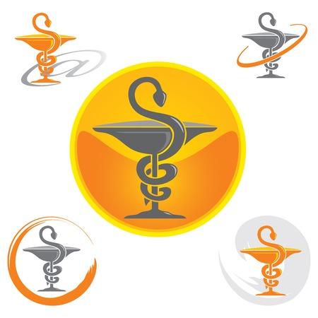 caduceus symbol: Set of Logos with Caduceus Symbol in Yellow Illustration