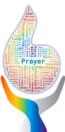 oneness: Word Cloud - Prayer in Flame Shape with Hands