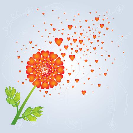 blown: Dandelion with Hearts Blown Away by Wind