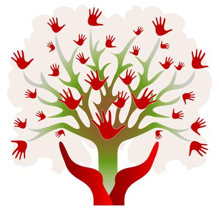 赤と緑の手でツリー