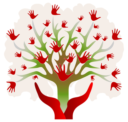 Tree with Hands in Red and Green