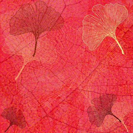 altered: Abstract Background with Ginkgo Leaves in Red