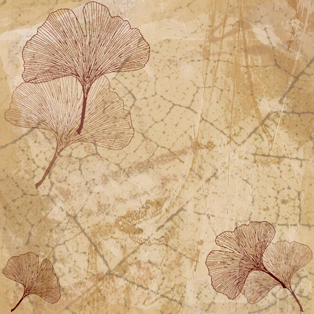 Abstract Background with Ginkgo Leaves in Beige
