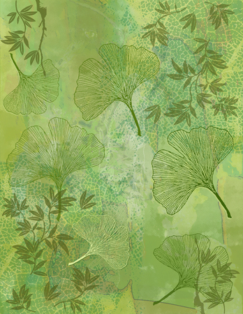 altered: Abstract Background with Ginkgo Leaves in Green Stock Photo