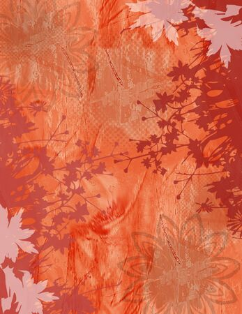 fabric texture: Flower Abstract Texture Background in Orange with Floral Border - Various Grunge effects.