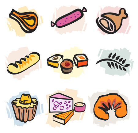 dietetics: Set of multiple food icons french bread and bakery