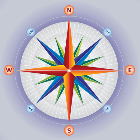 puntos cardinales: Rosa de los Vientos Ilustración Compass en colores múltiples Vectores