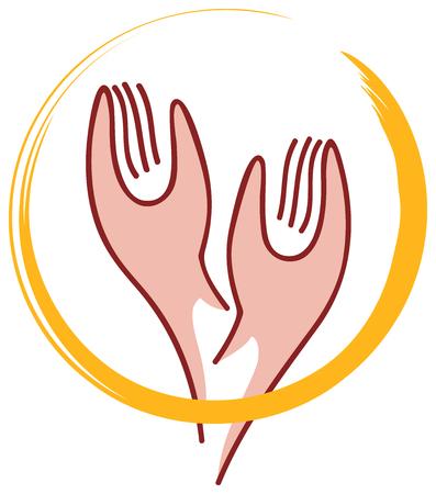 towards: Hands Towards Sky and Aura turned - Illustration - Symbol of Prayer
