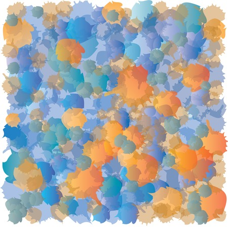 accumulation: Abstract Spots Pattern - Blue and Orange - Accumulation Illustration