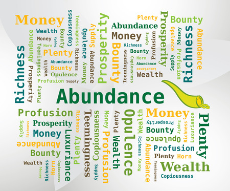 profusion: Word Cloud - Abundance with Horn of Abundance Icon Illustration