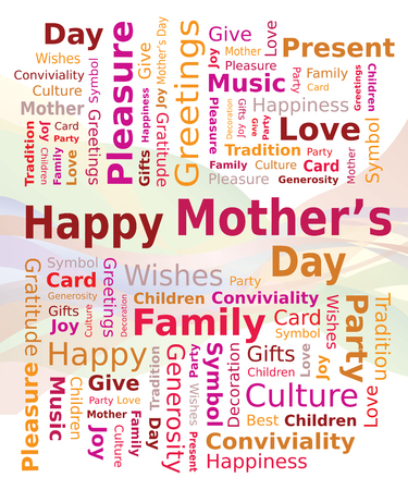 Word Cloud - Happy Mothers Day in Red and Orange Colors