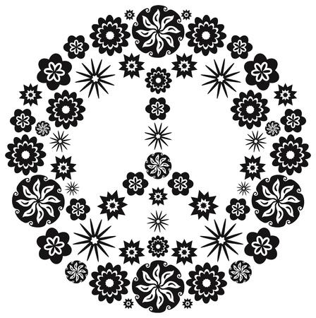simbolo paz: Paz y símbolo del amor hecho de flores - Blanco y Negro